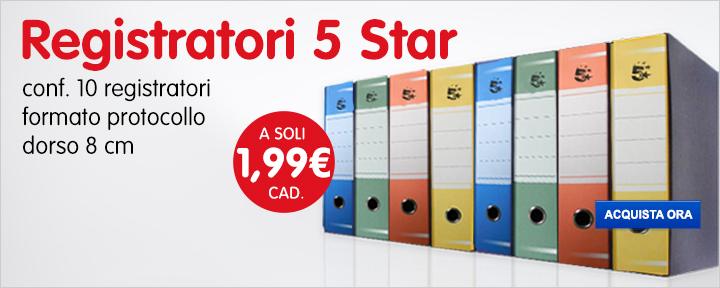 Registratori 5 Star a soli 1,99€ cad.