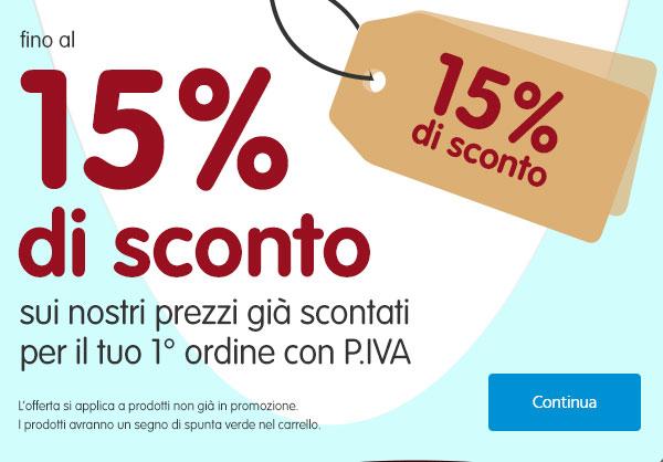 15% benvenuto