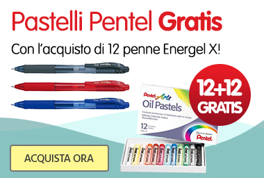 12 penne Pentel, 12 pastelli GRATIS