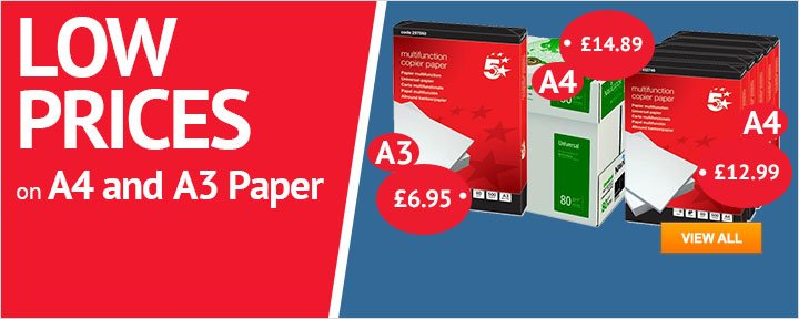Low prices on A4 and A3 paper